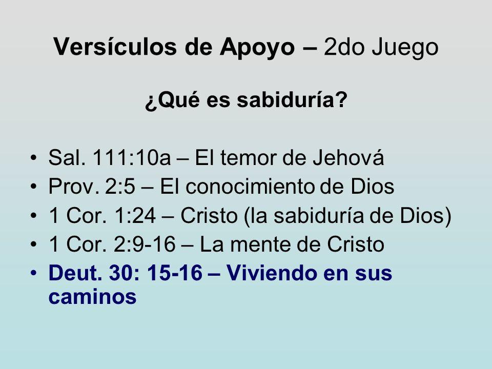Versículos de Apoyo – 2do Juego