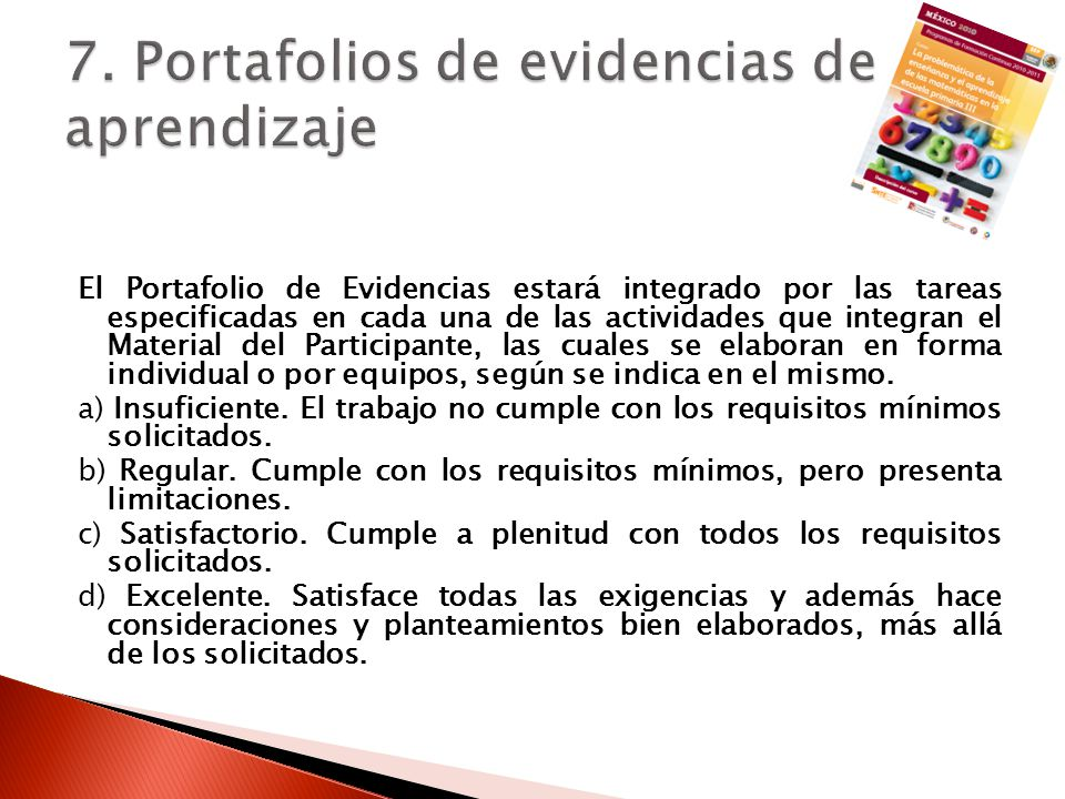7. Portafolios de evidencias de aprendizaje