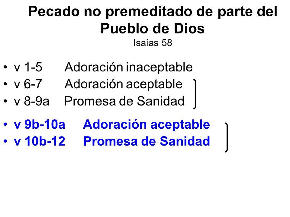 Pecado no premeditado de parte del Pueblo de Dios Isaías 58
