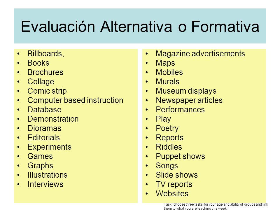 Evaluación Alternativa o Formativa