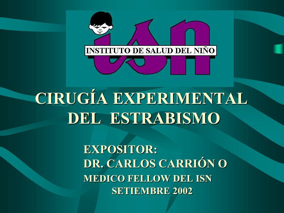 CIRUGÍA EXPERIMENTAL. DEL ESTRABISMO. EXPOSITOR:. DR. CARLOS CARRIÓN O