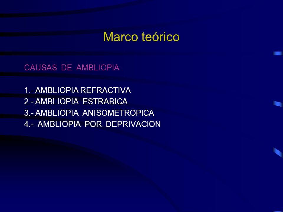 Marco teórico CAUSAS DE AMBLIOPIA 1.- AMBLIOPIA REFRACTIVA
