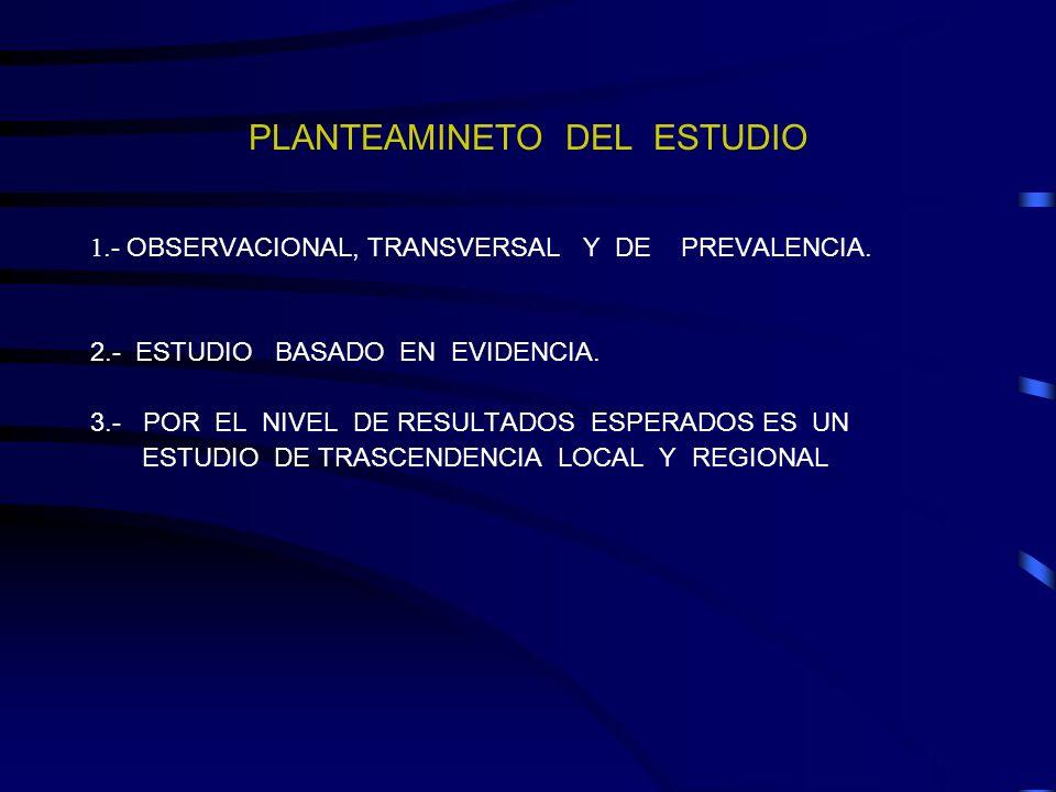 PLANTEAMINETO DEL ESTUDIO
