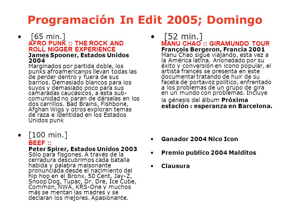 Programación In Edit 2005; Domingo