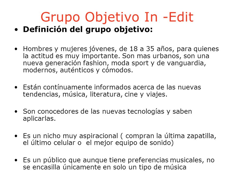 Grupo Objetivo In -Edit