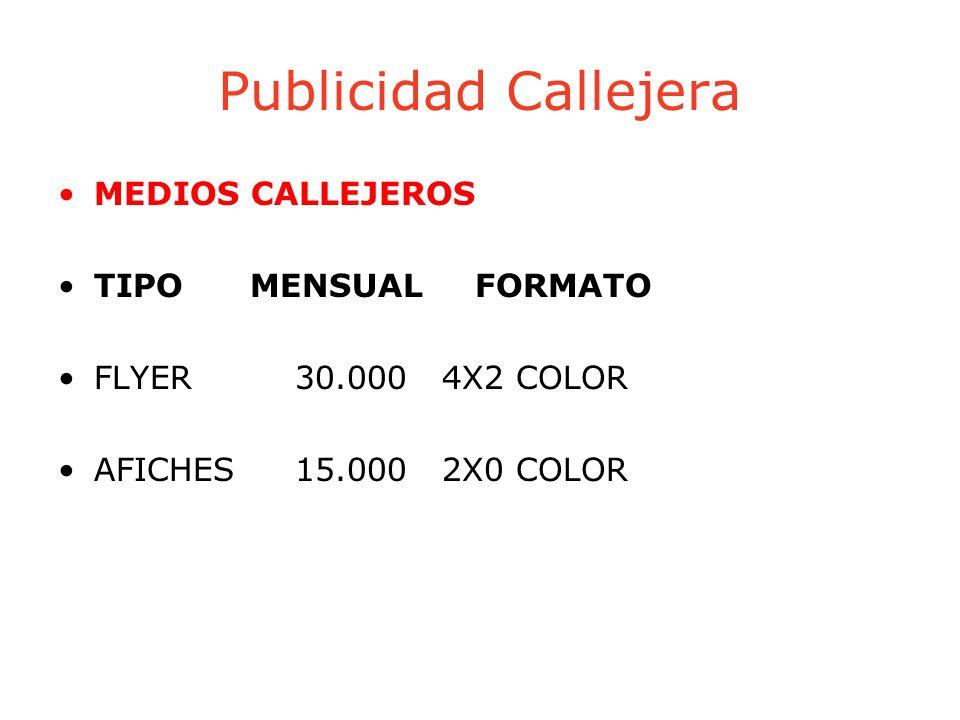 Publicidad Callejera MEDIOS CALLEJEROS TIPO MENSUAL FORMATO