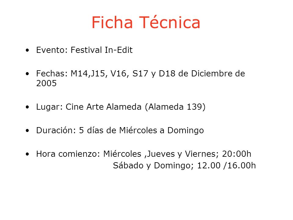 Ficha Técnica Evento: Festival In-Edit