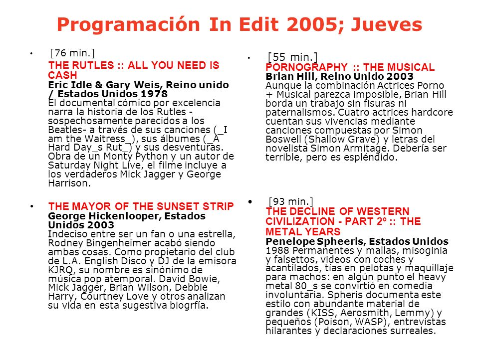 Programación In Edit 2005; Jueves
