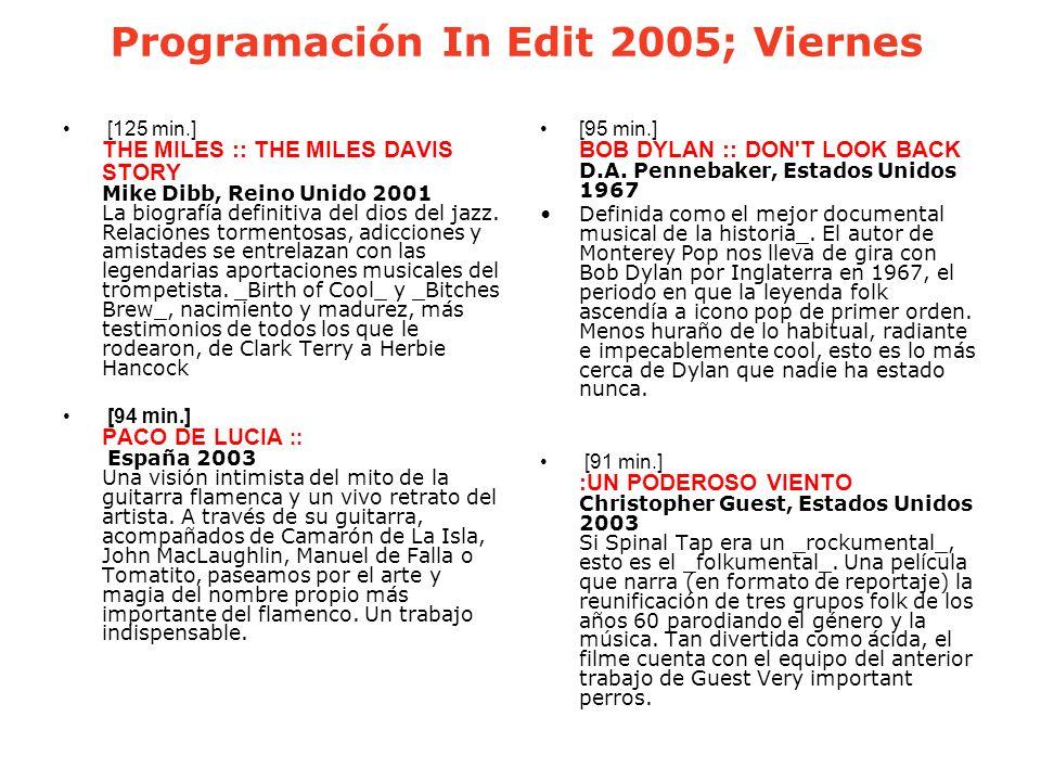 Programación In Edit 2005; Viernes