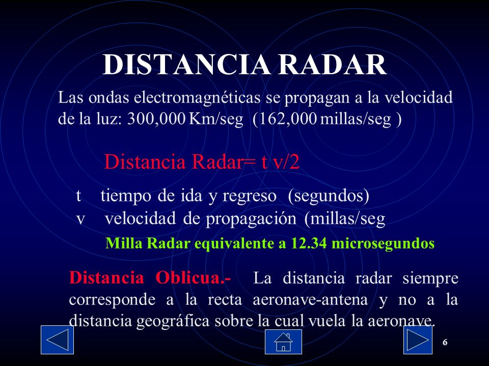 DISTANCIA RADAR Distancia Radar= t v/2