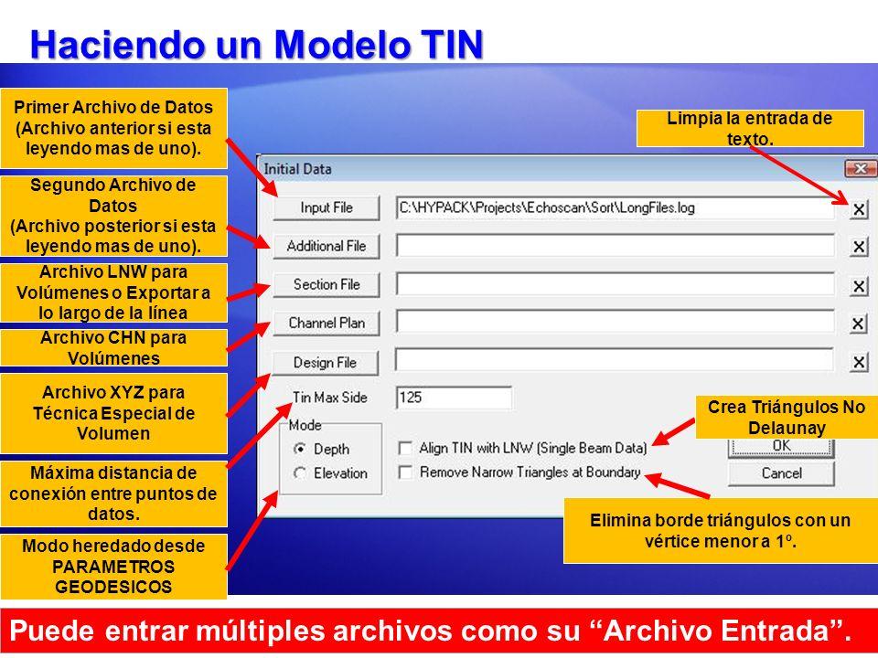 Haciendo un Modelo TIN Primer Archivo de Datos. (Archivo anterior si esta leyendo mas de uno). Limpia la entrada de texto.
