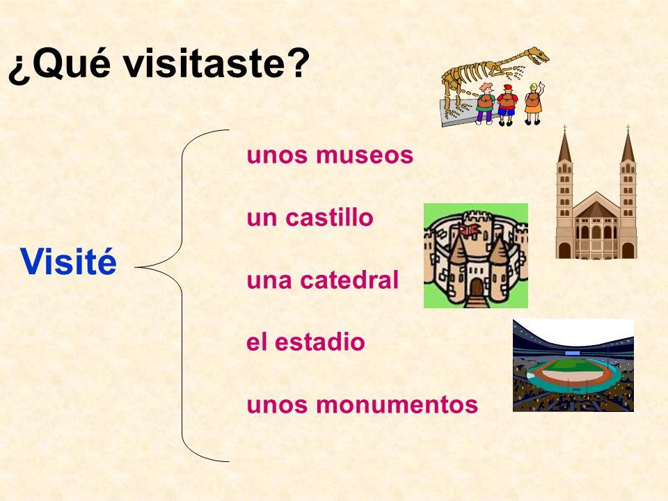 ¿Qué visitaste Visité unos museos un castillo una catedral el estadio