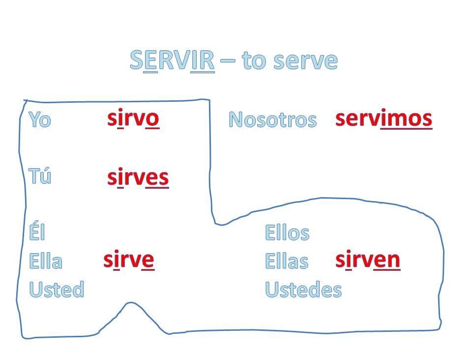 SERVIR – to serve sirvo servimos sirves sirve sirven Yo Nosotros Tú