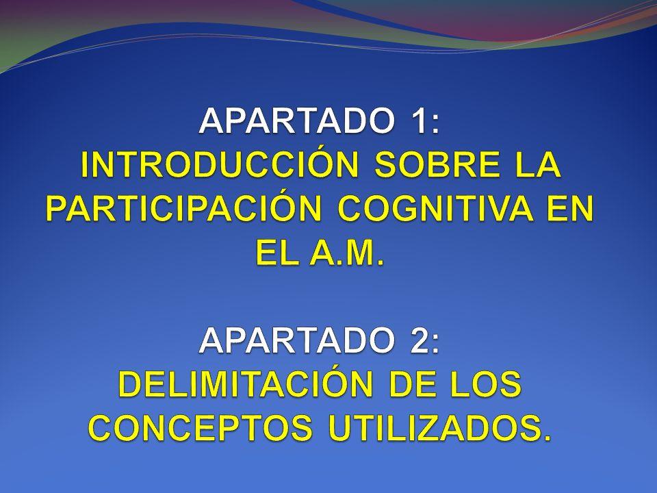 APARTADO 1: INTRODUCCIÓN SOBRE LA PARTICIPACIÓN COGNITIVA EN EL A. M