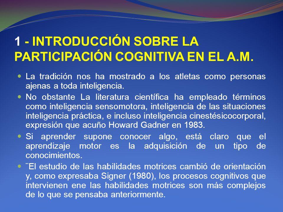 1 - INTRODUCCIÓN SOBRE LA PARTICIPACIÓN COGNITIVA EN EL A.M.