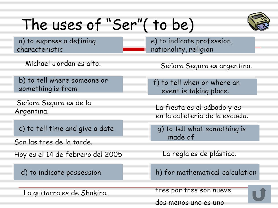 The uses of Ser ( to be)