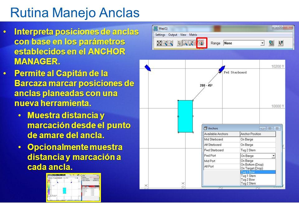 Rutina Manejo Anclas Interpreta posiciones de anclas con base en los parámetros establecidos en el ANCHOR MANAGER.