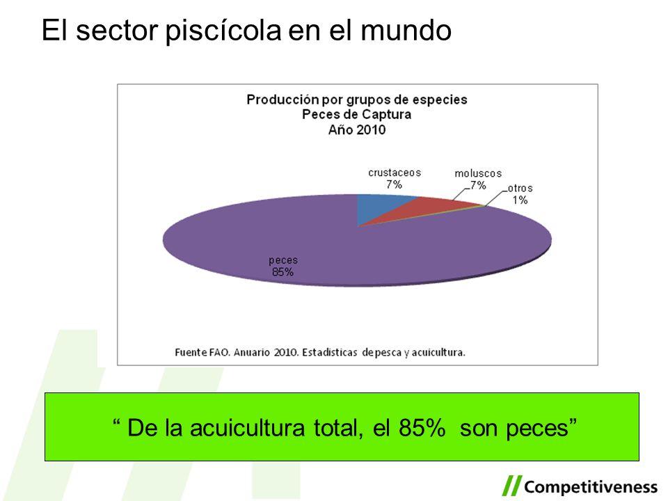 De la acuicultura total, el 85% son peces