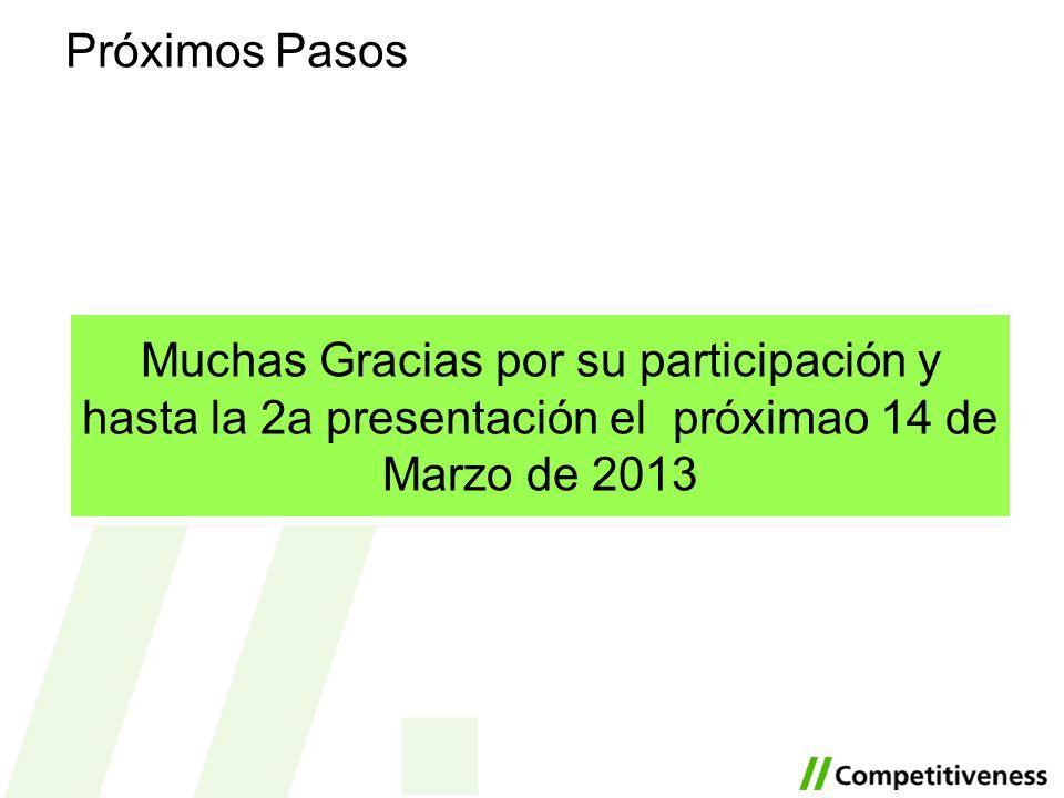 Próximos PasosMuchas Gracias por su participación y hasta la 2a presentación el próximao 14 de Marzo de 2013.