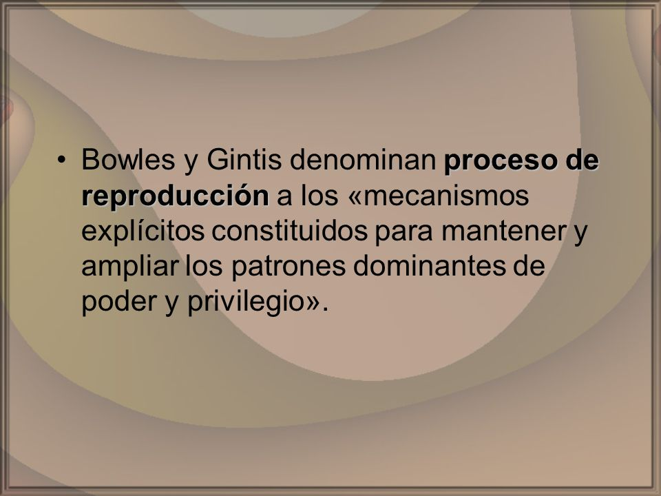 Bowles y Gintis denominan proceso de reproducción a los «mecanismos explícitos constituidos para mantener y ampliar los patrones dominantes de poder y privilegio».