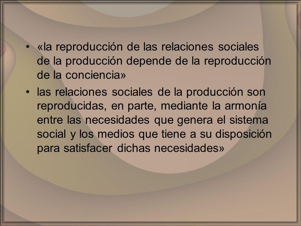 «la reproducción de las relaciones sociales de la producción depende de la reproducción de la conciencia»