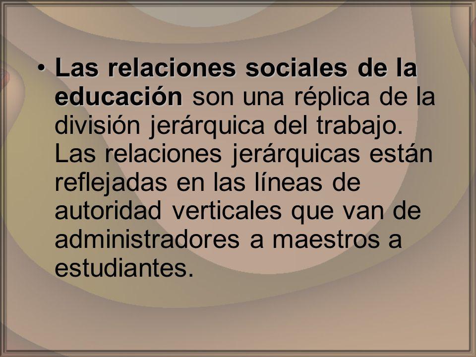 Las relaciones sociales de la educación son una réplica de la división jerárquica del trabajo.