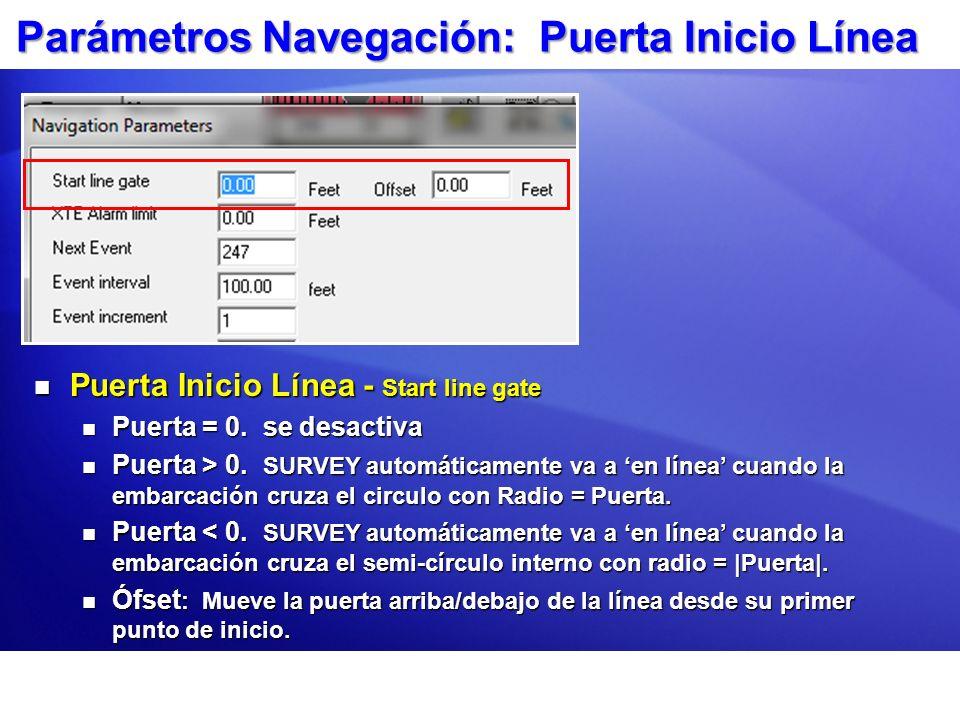 Parámetros Navegación: Puerta Inicio Línea