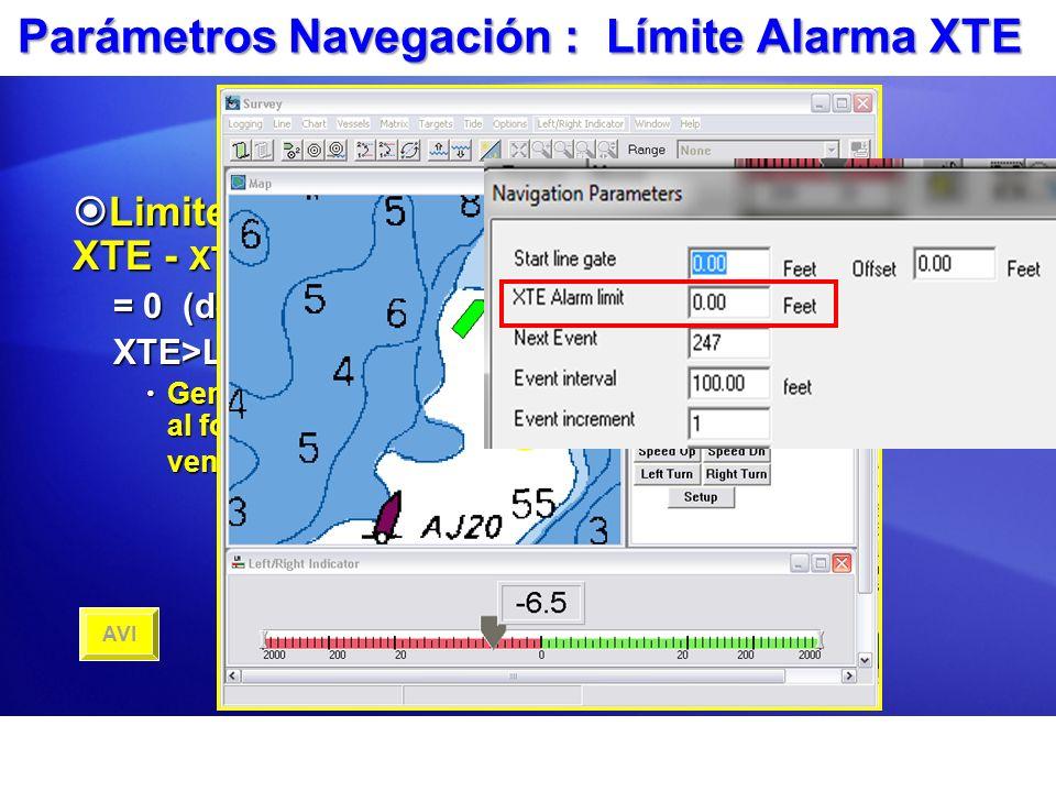 Parámetros Navegación : Límite Alarma XTE