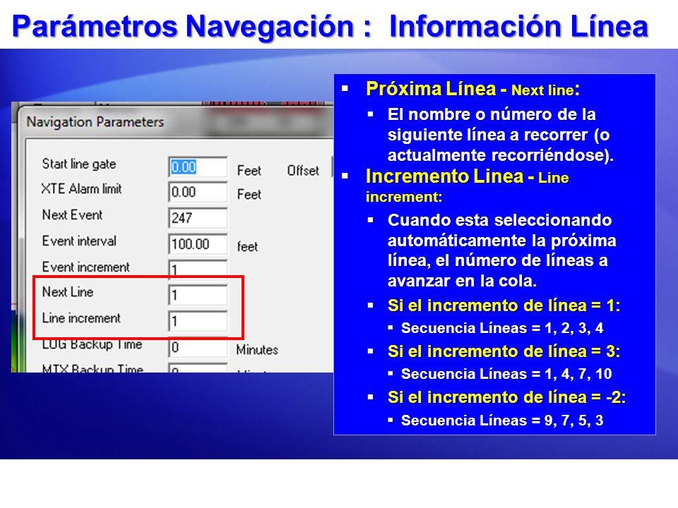 Parámetros Navegación : Información Línea