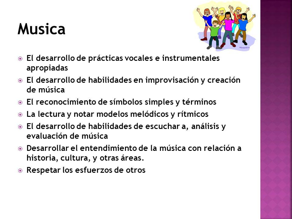 Musica El desarrollo de prácticas vocales e instrumentales apropiadas
