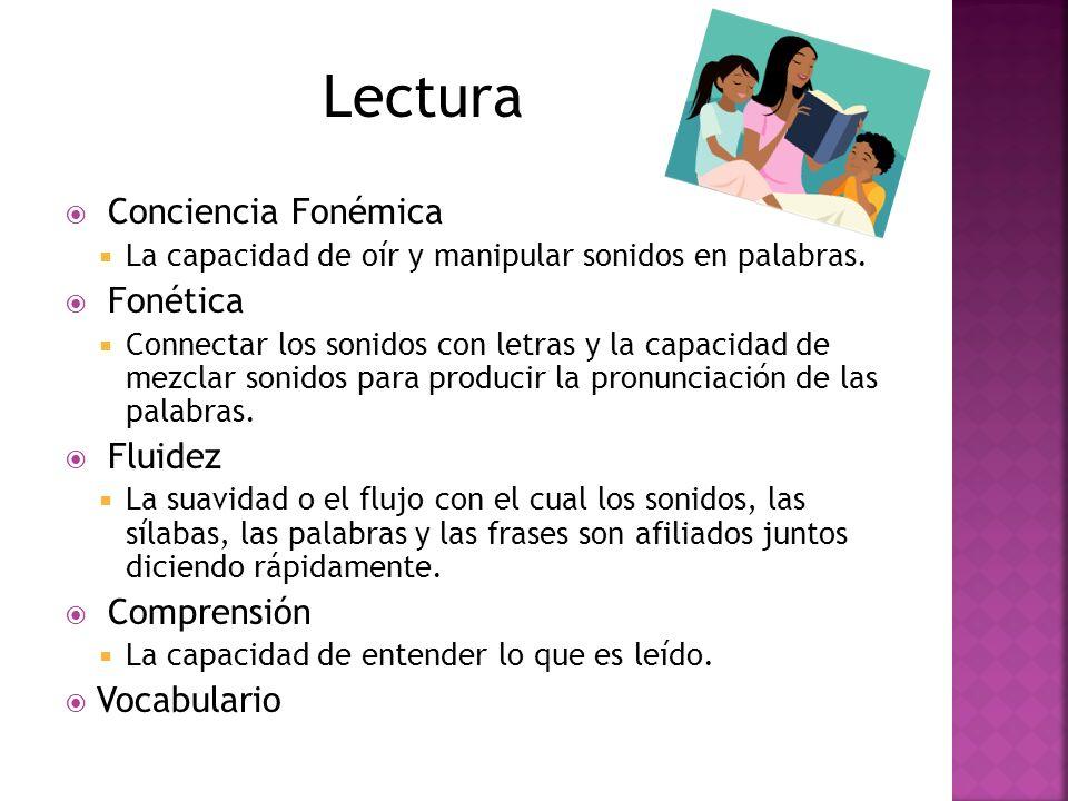 Lectura Conciencia Fonémica Fonética Fluidez Comprensión Vocabulario