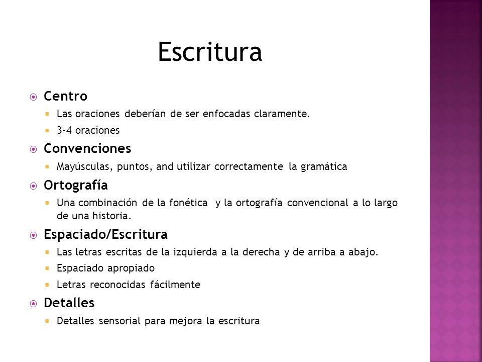 Escritura Centro Convenciones Ortografía Espaciado/Escritura Detalles