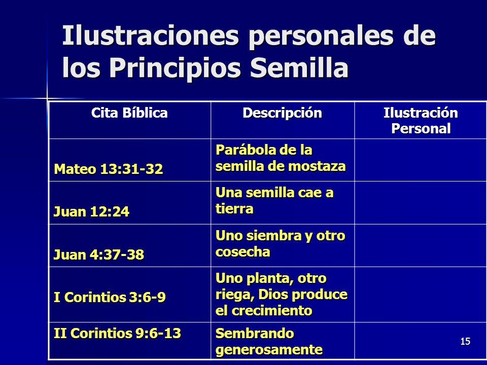 Ilustraciones personales de los Principios Semilla