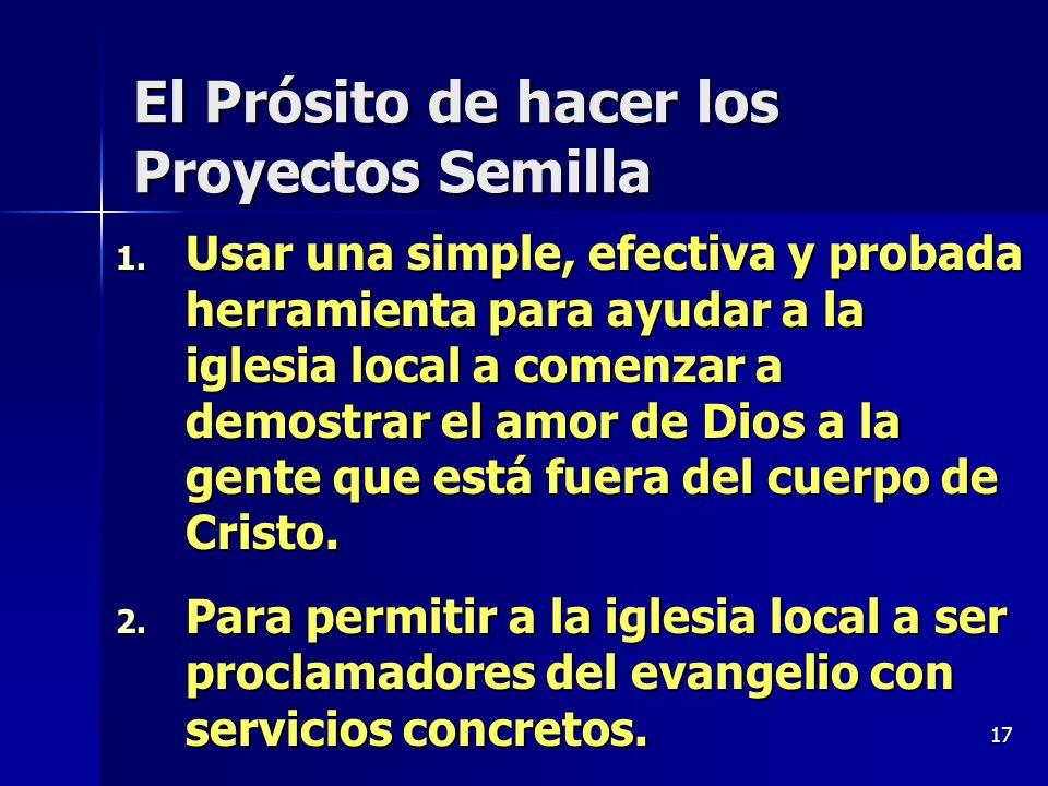 El Prósito de hacer los Proyectos Semilla