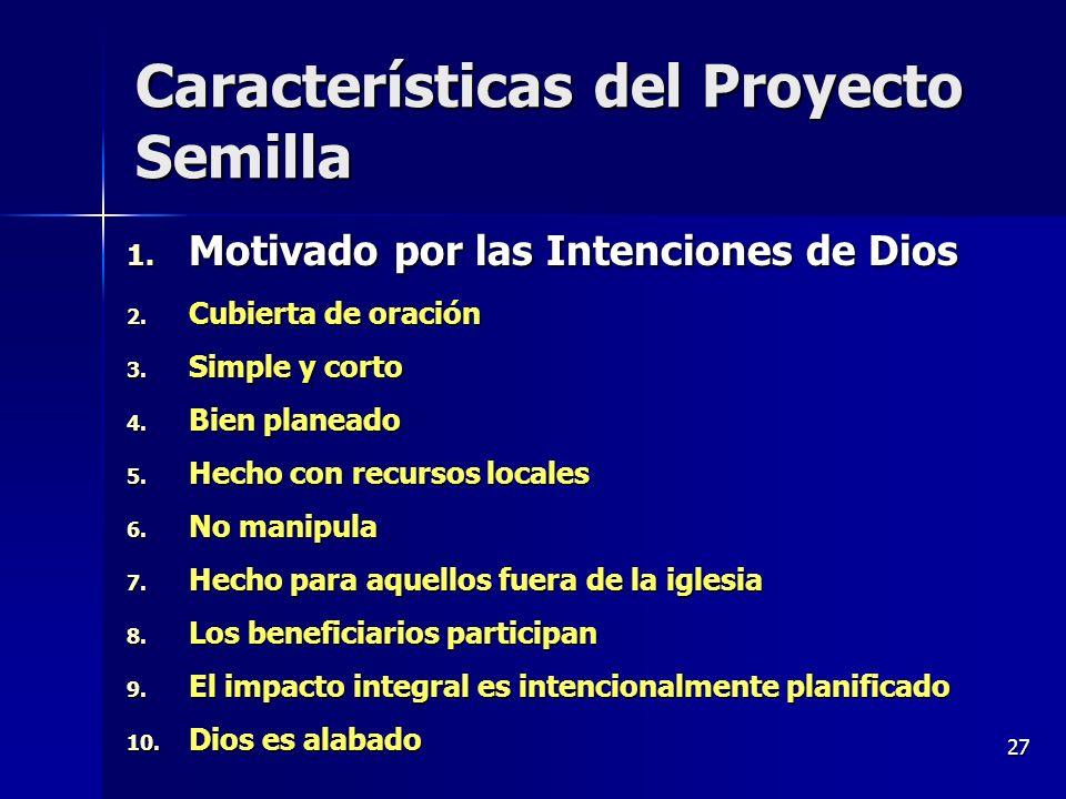 Características del Proyecto Semilla