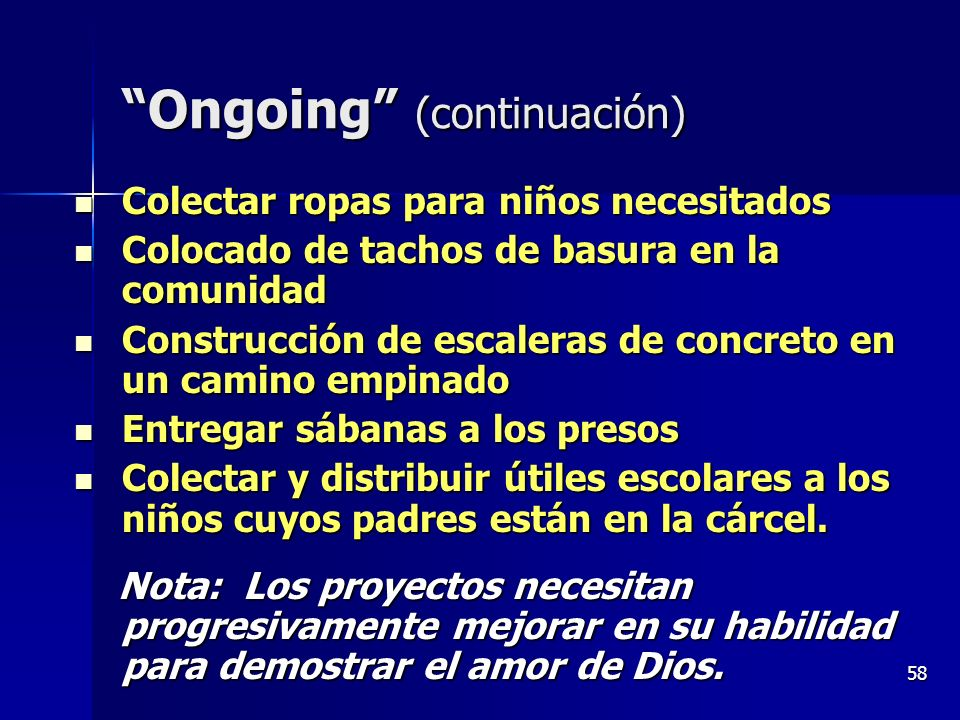 Ongoing (continuación)