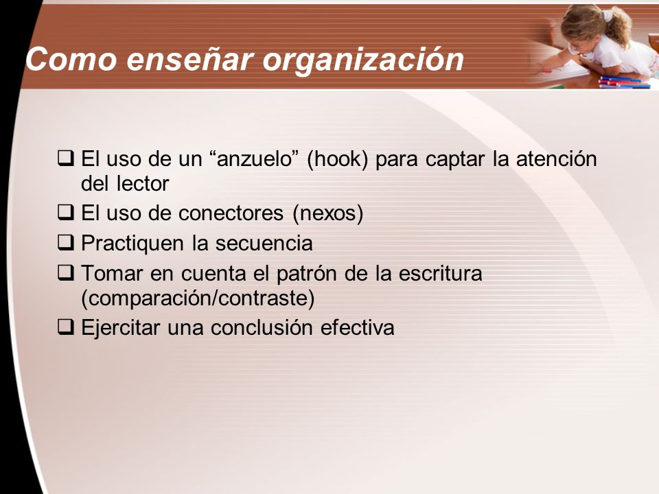Como enseñar organización