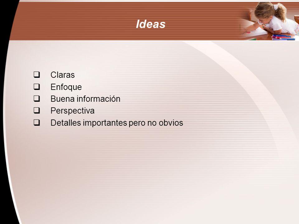 Ideas Claras Enfoque Buena información Perspectiva