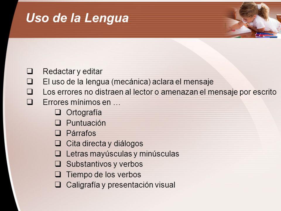 Uso de la Lengua Redactar y editar