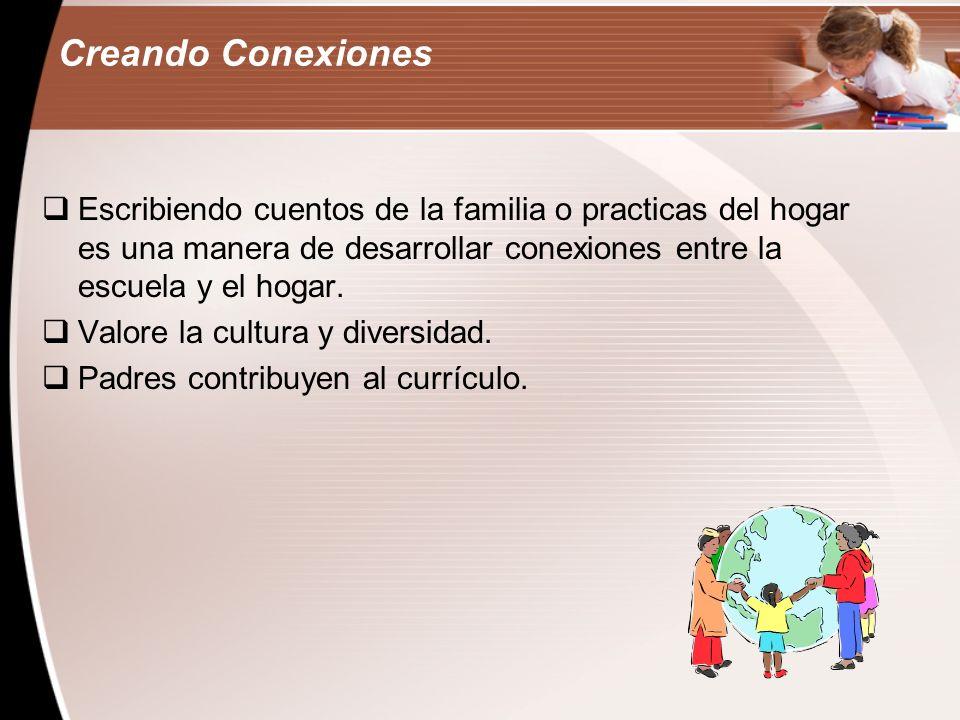 Creando ConexionesEscribiendo cuentos de la familia o practicas del hogar es una manera de desarrollar conexiones entre la escuela y el hogar.
