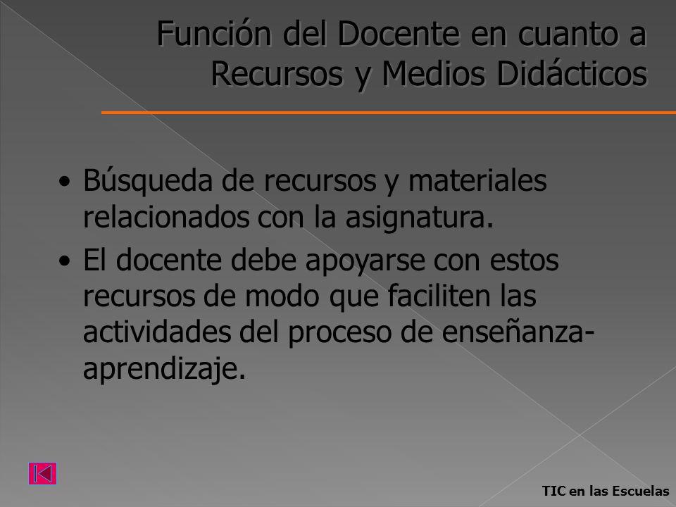 Función del Docente en cuanto a Recursos y Medios Didácticos