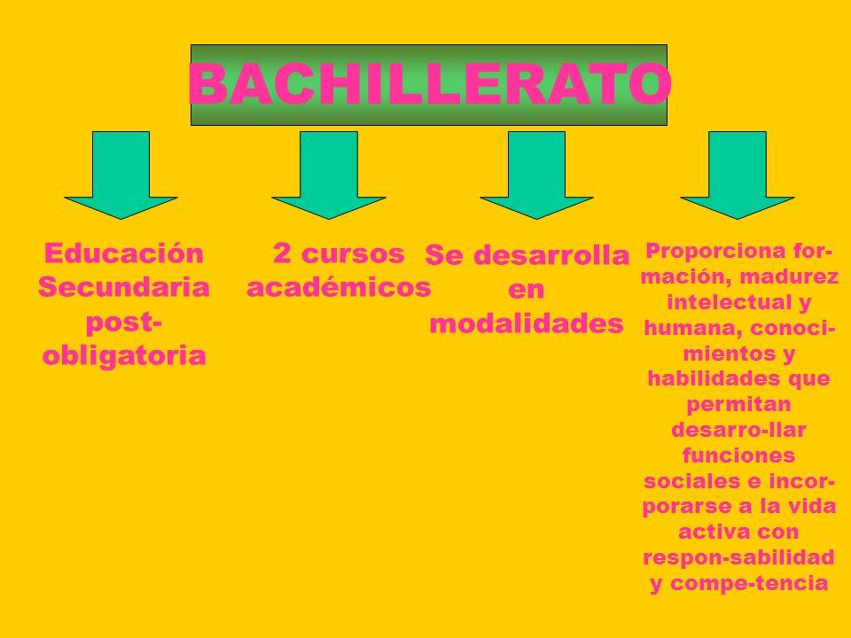 BACHILLERATO Educación Secundaria post-obligatoria 2 cursos académicos