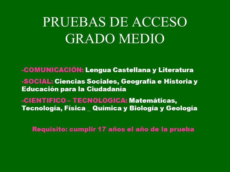 PRUEBAS DE ACCESO GRADO MEDIO