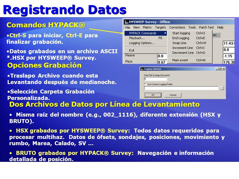 Registrando Datos Comandos HYPACK® Opciones Grabación