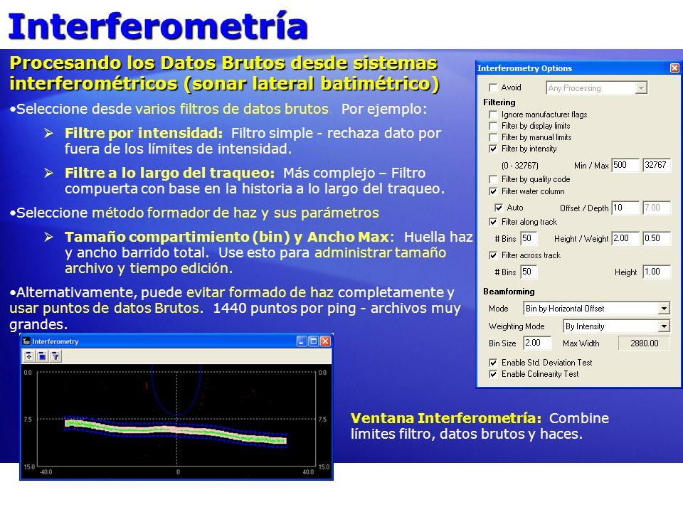 Interferometría Procesando los Datos Brutos desde sistemas interferométricos (sonar lateral batimétrico)