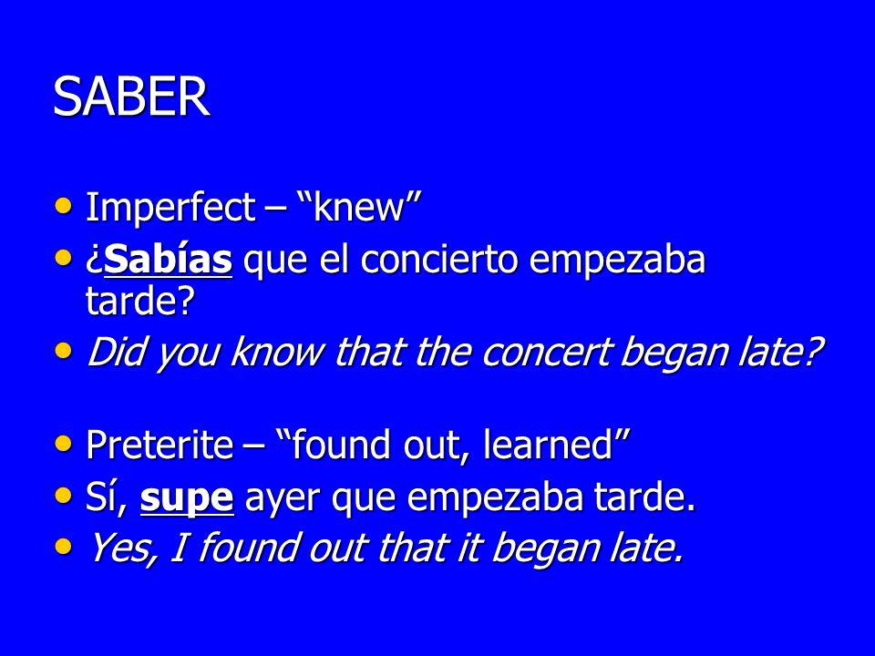 SABER Imperfect – knew ¿Sabías que el concierto empezaba tarde