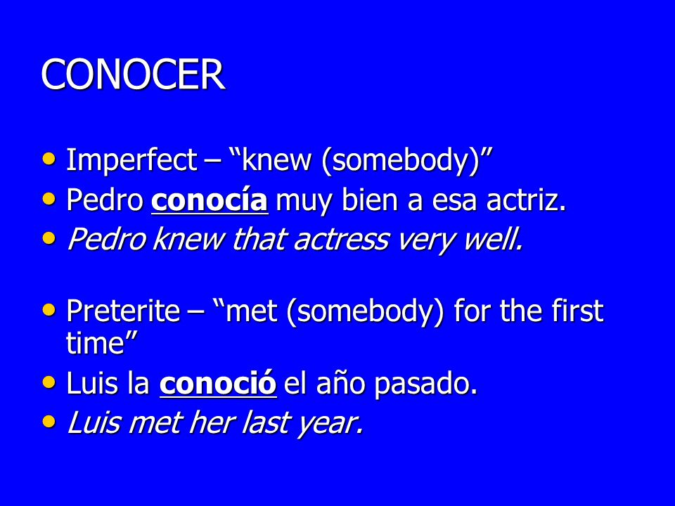 CONOCER Imperfect – knew (somebody)