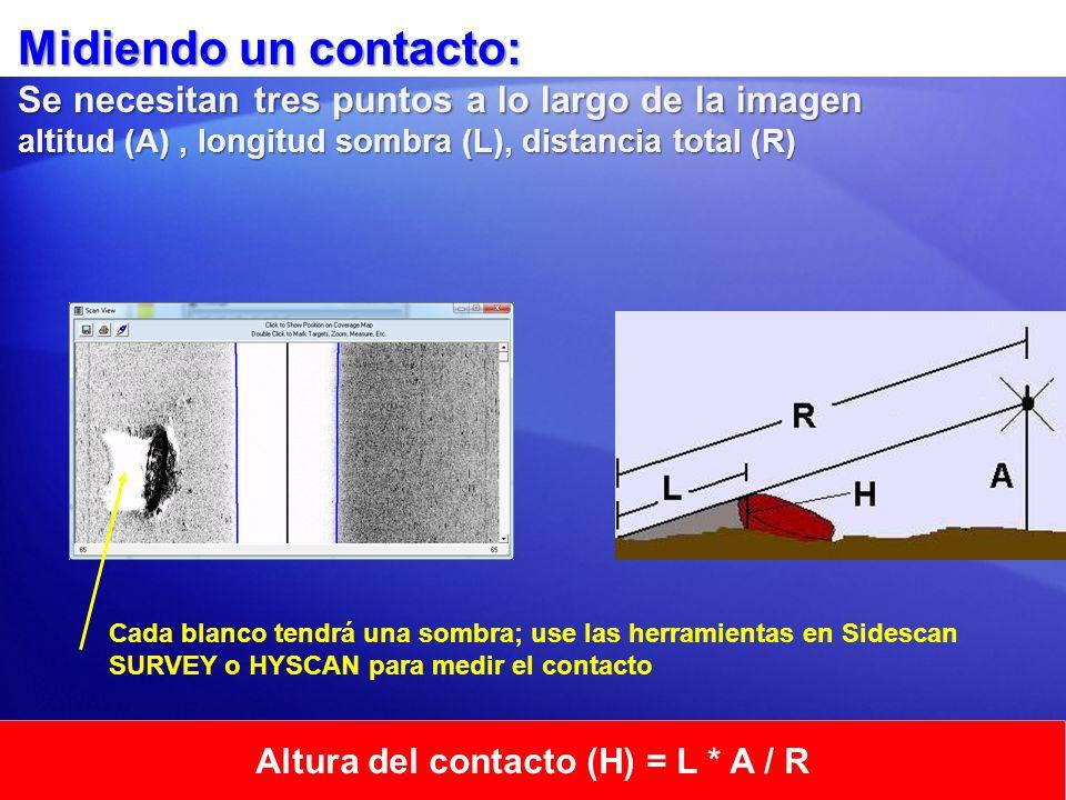 Altura del contacto (H) = L * A / R