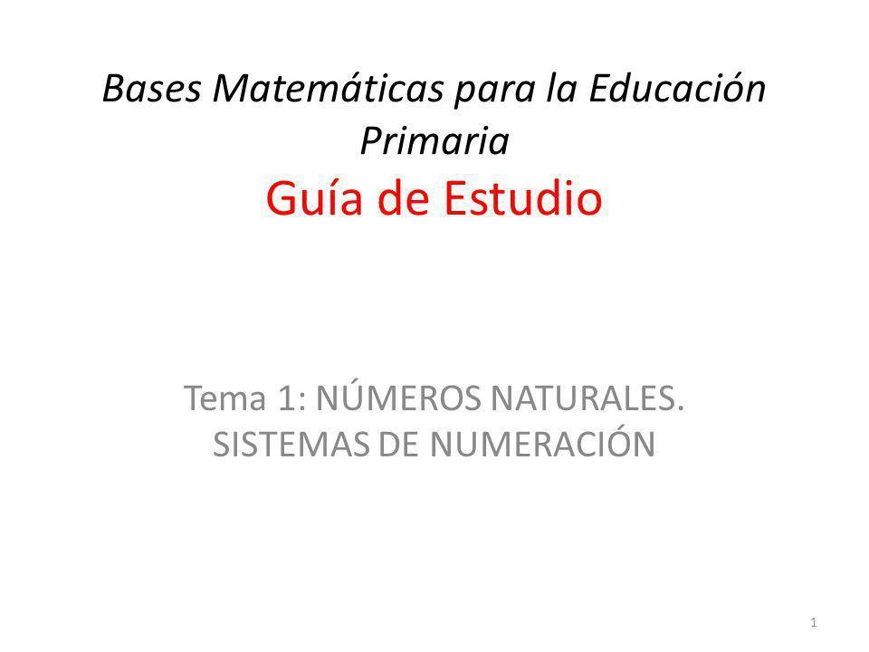Bases Matemáticas para la Educación Primaria Guía de Estudio