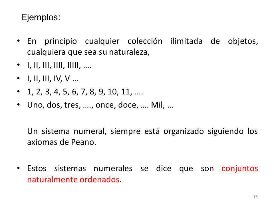 Ejemplos: En principio cualquier colección ilimitada de objetos, cualquiera que sea su naturaleza, I, II, III, IIII, IIIII, ….